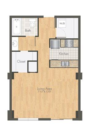 Ballpark Loft Apartments Studio Floor plan 1 bath