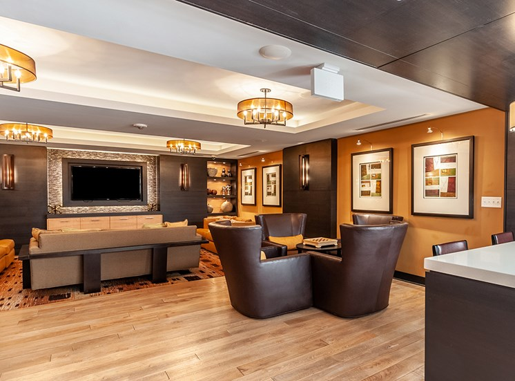 Northgate resident clubhouse in Falls Church, VA with flatscreen TV