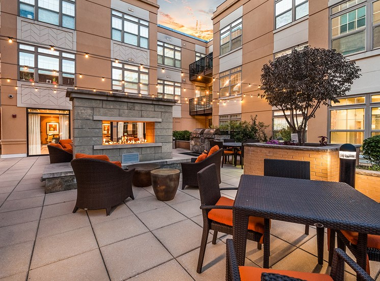 Dining and lounge areas in Northgate's private courtyard