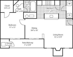 The Marks Apartment Homes  Chamberlain Park Floor Plan 1 Beds 1 Bath