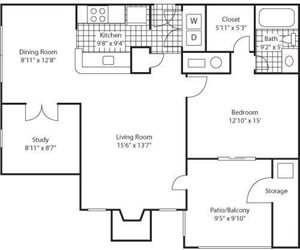The Marks Apartment Homes| Oxford Rocks Park Floor Plan 1 Beds 1 Bath