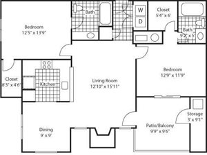 The Marks Apartment Homes| Paramount Park Floor Plan 2 Beds 2 Bath