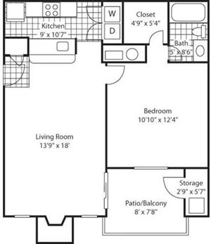 The Marks Apartment Homes| Red Rocks Park Floor Plan 1 Beds 1 Bath