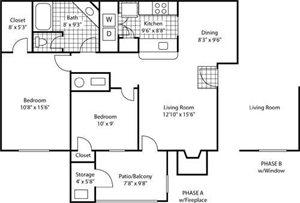 The Marks Apartment Homes  Washington Park Floor Plan 2 Beds 1 Bath
