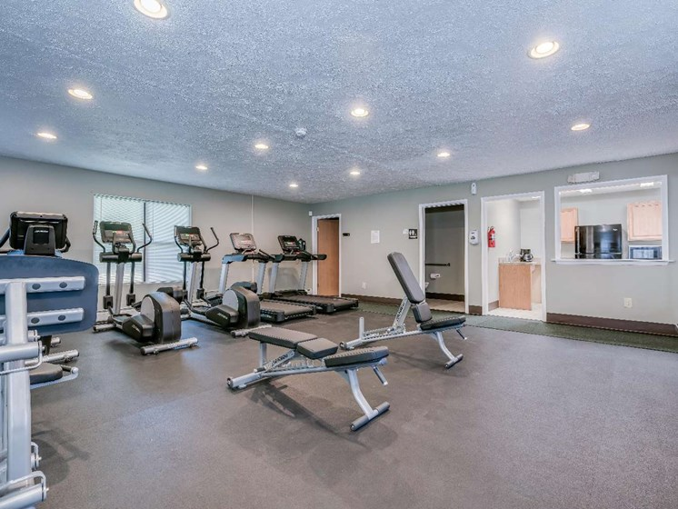 Fitness Center With Modern Equipment at Parkstead Watertown at City Center, Watertown