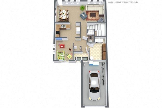 4 BEDROOM-2.5 BATH TOWNHOUSE Floor Plan at Truscott Terrace, Watertown