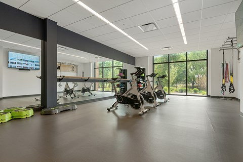 Cardio bicycles in the state-of-the-art fitness center at Keva Flats