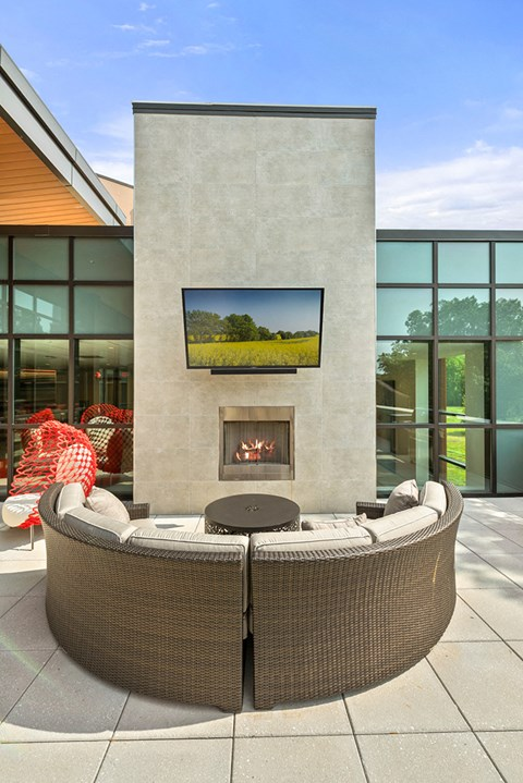 Large fire-pit and seating at Keva Flats in Exton
