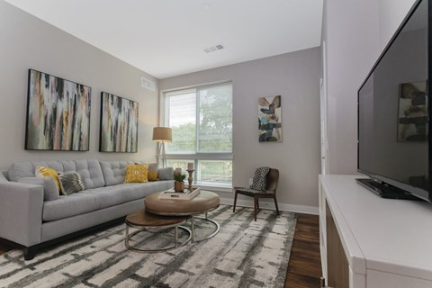 Keva Flats luxury apartment living room with wood floors in Exton, PA