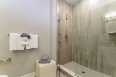 Shower in Exton apartment at Keva Flats