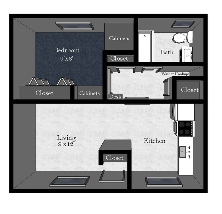 Aspen: 1 Bedroom / 1 Bathroom