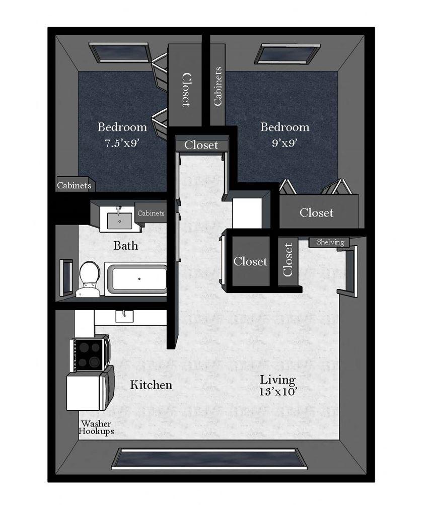 Aspen: 2 Bedroom / 1 Bathroom