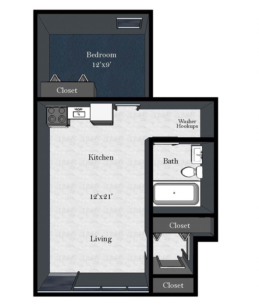 Cedar East: 1 Bedroom / 1 Bathroom