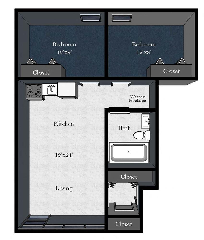 Cedar East: 2 Bedroom / 1 Bathroom