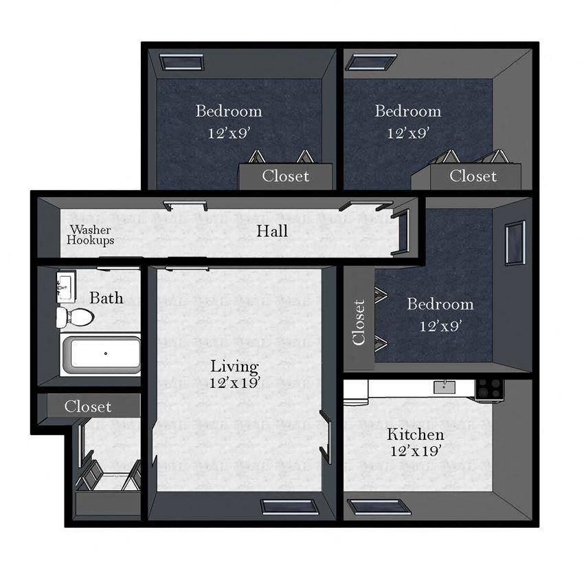 Cedar West: 3 Bedroom / 1 Bathroom