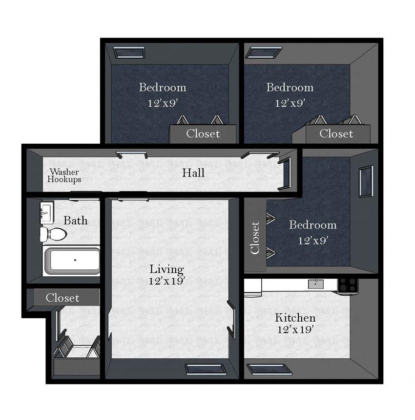 Cedar East: 3 Bedroom / 1 Bathroom