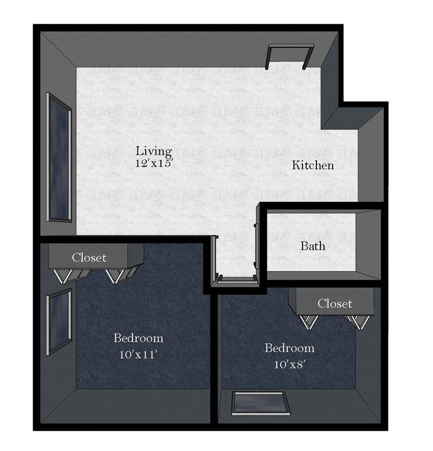 Medical Plaza: 2 Bedroom / 1 Bathroom