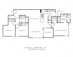 AscentAtCampusOfLife_3Bedroom_2Bathroom_FloorPlan