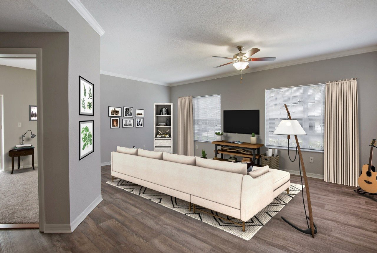 Spacious Living Room with Hardwood Style Flooring