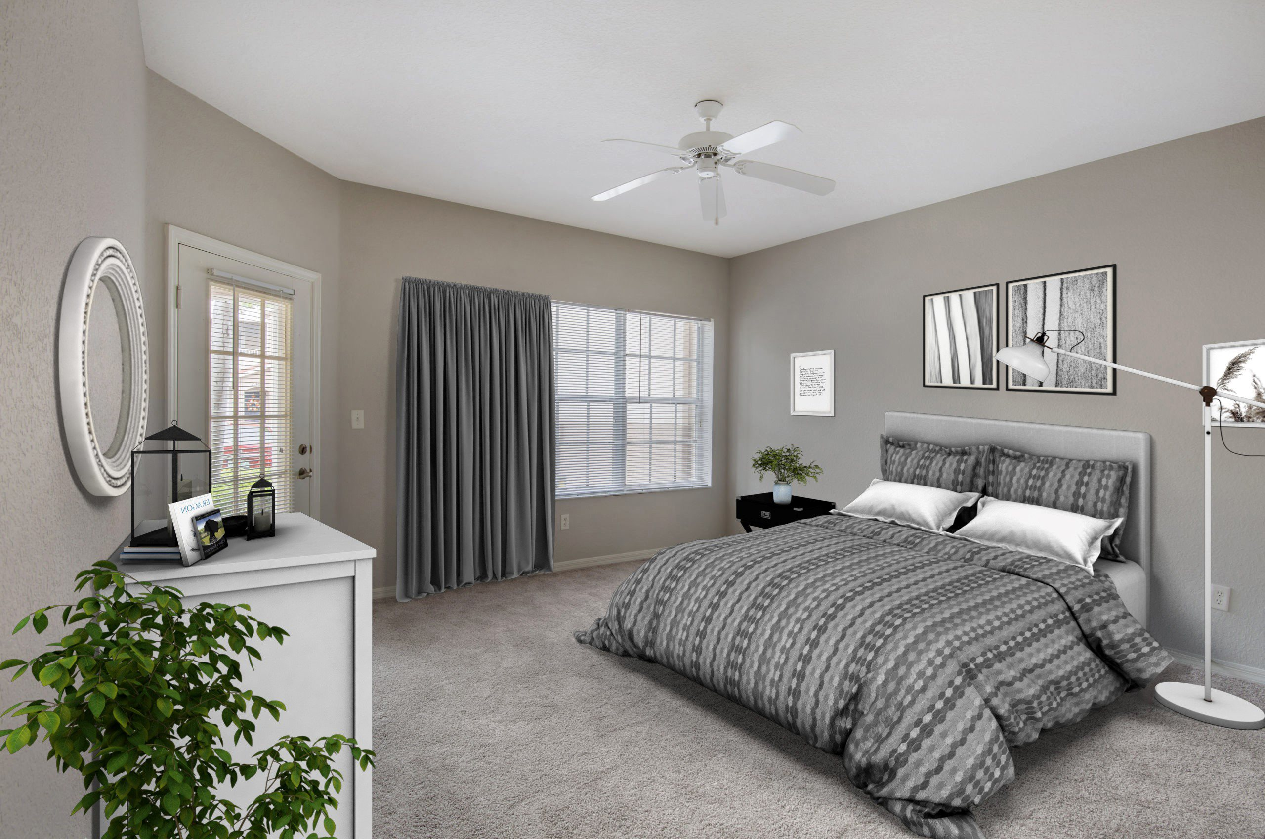 interior of bedroom with virtual furniture