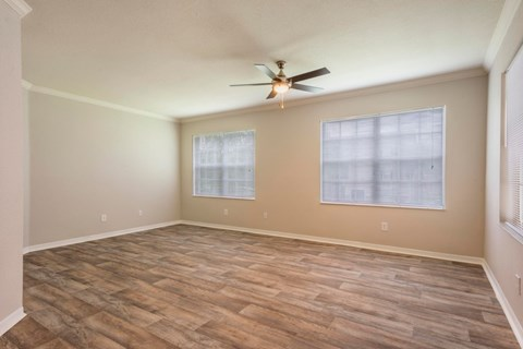 Living Room with Hardwood Style Flooring