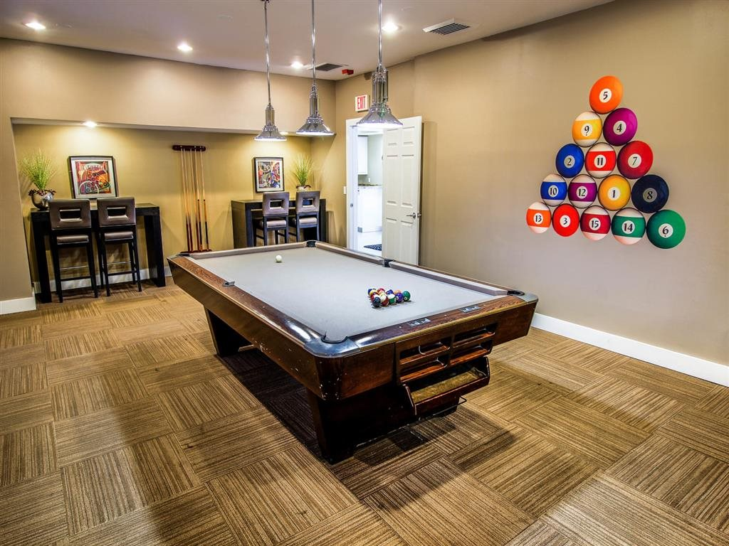 Billiards lounge, community recreation room, Gatehouse on Pinelake