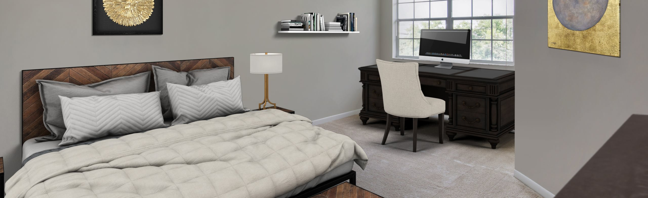 Virtual staged model apartment, bedroom