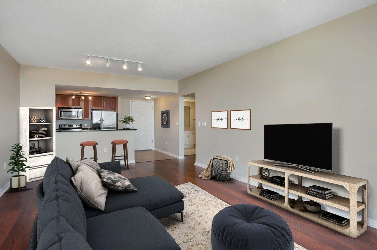 Large Room with Hardwood Style Flooring