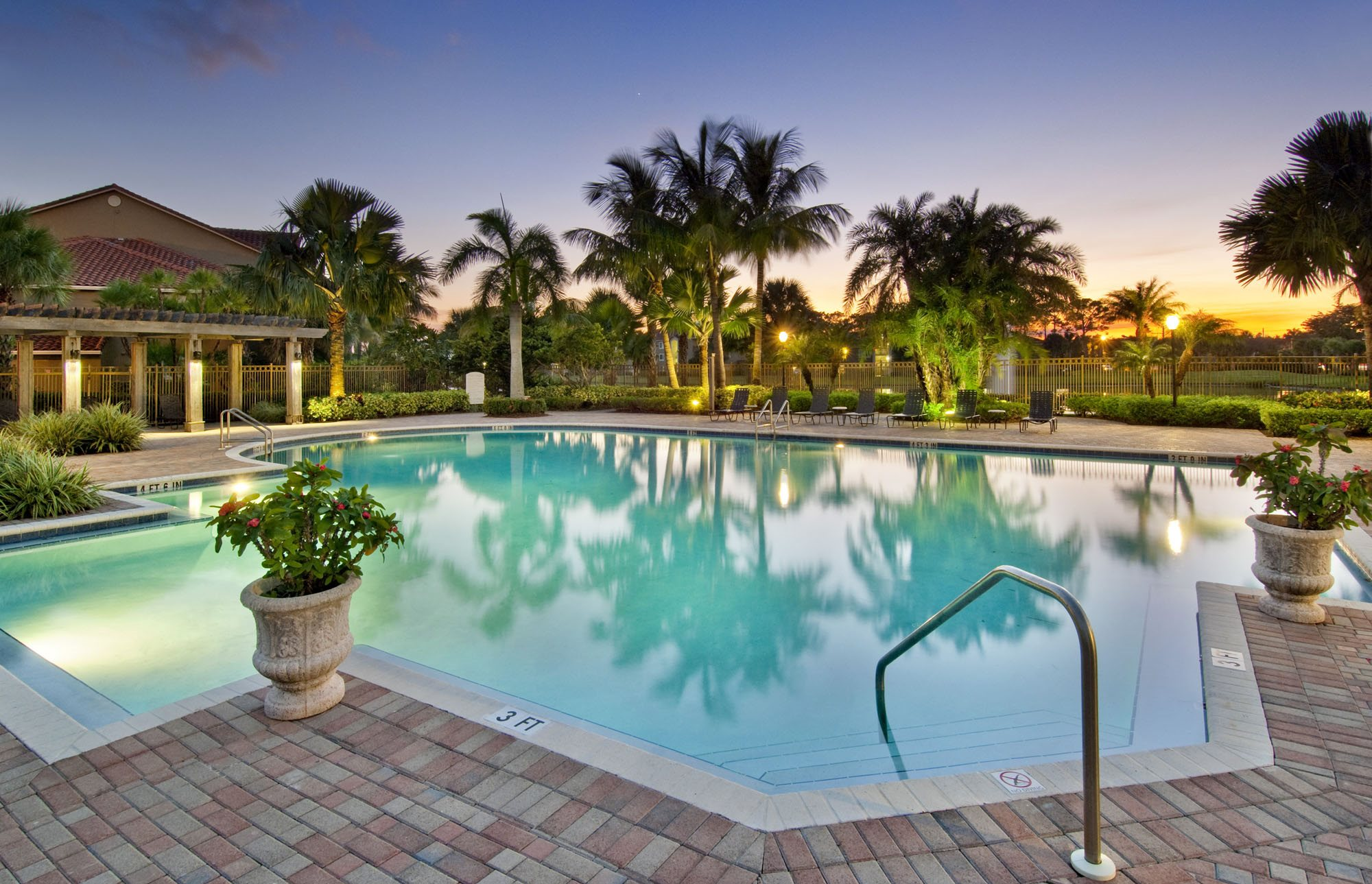 Oasis Delray Beach Apartments Pool at Sunset
