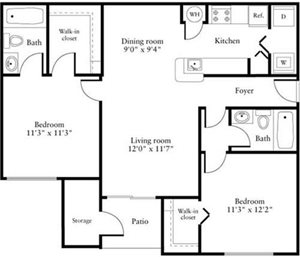 2 Bedrooms A Floorplan at Oasis Delray