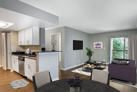 Spacious Interiors with Hardwood Style Flooring and Private Balcony