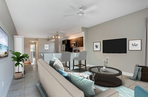Living Room with Tile Flooring at Oasis Delray Apartments, FL 33484