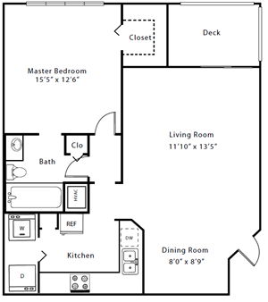 Palm Trace| 1B Future Floor Plan 1 Bed 1 Bath