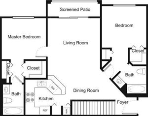 Palm Trace| 2E Future Floor Plan 2 Bed 2 Bath