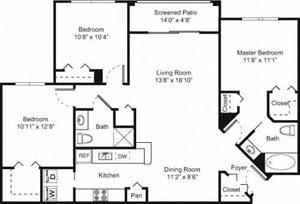 Palm Trace| 3D Future Floor Plan 3 Bed 2 Bath