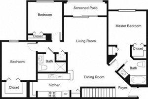 Palm Trace| 3E Future Floor Plan 3 Bed 2 Bath