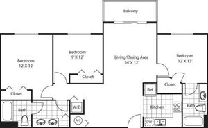Red Road Commons | Collins 3 Bedroom  2 Bath