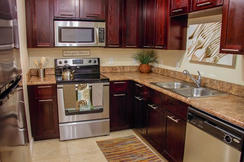 Stainless Steel Appliances in kitchen and built-in microwave