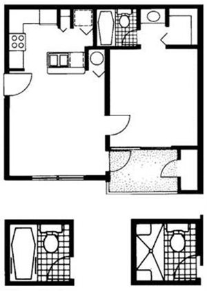 The Reserve at Ashley Lake | Orchid Floor Plan 1 Bedroom 1 Bath