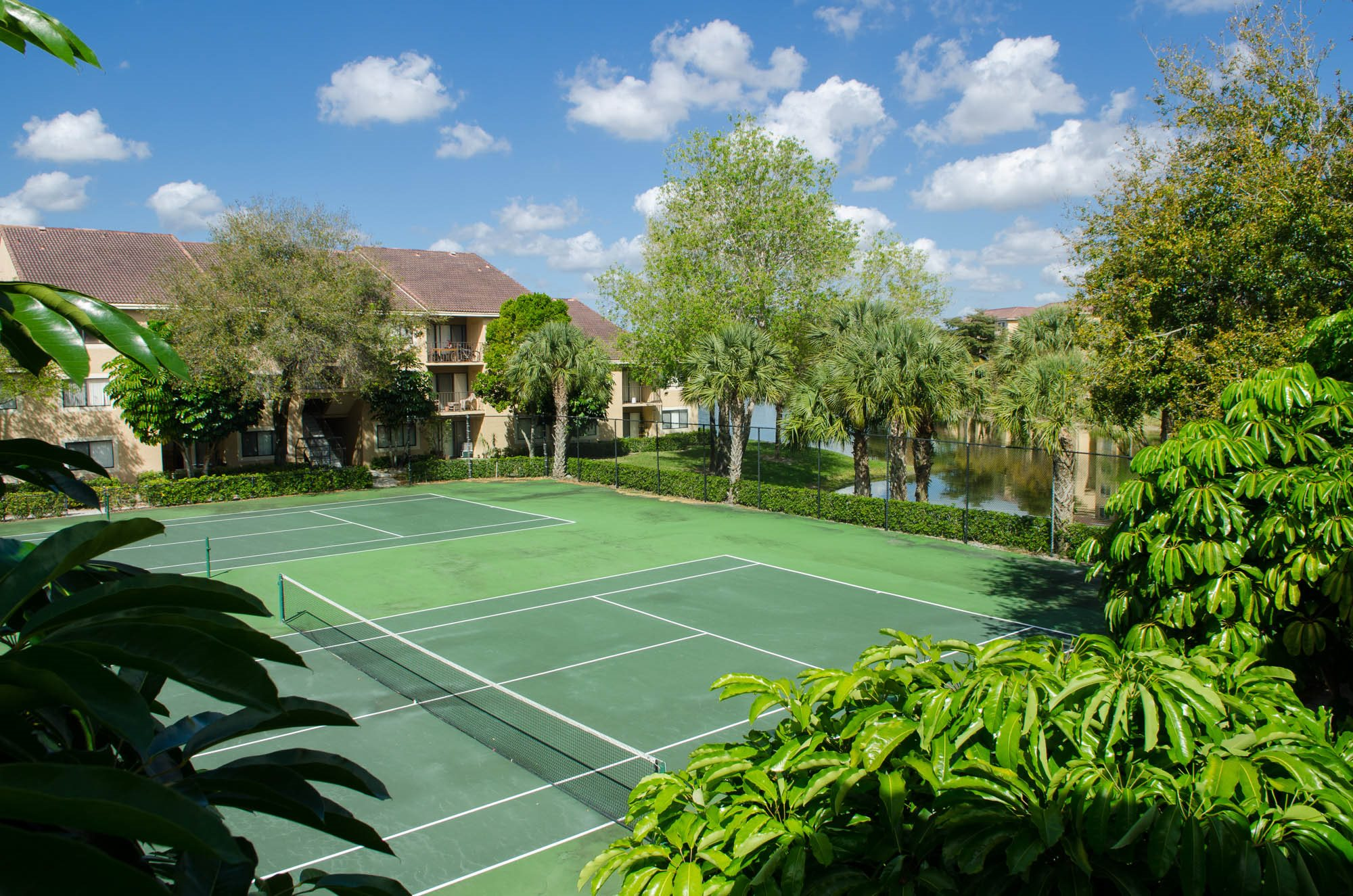 tennis courts and exterior of building