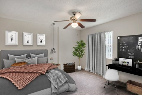 Fully furnished bedroom with bedding, curtains, and a ceiling fan