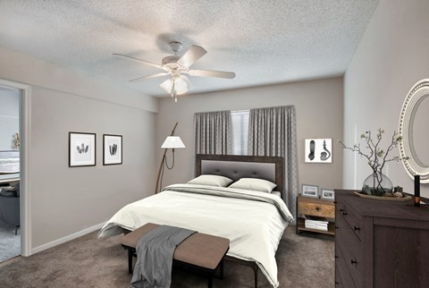 Fully furnished bedroom with furniture, wall to wall carpet, curtains, and decor