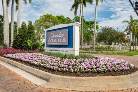 Entrance sign with landscaping