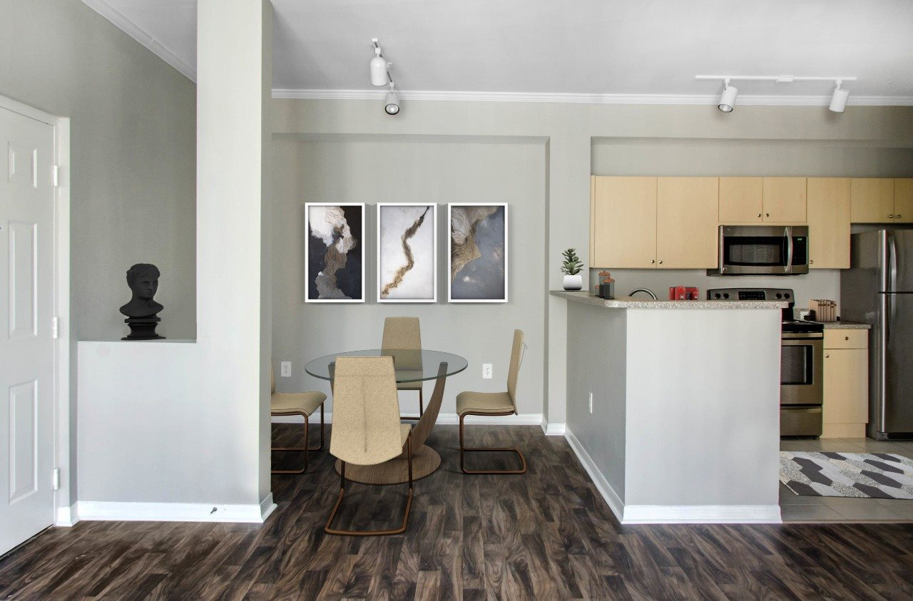 Dining Room with Hardwood Style Flooring
