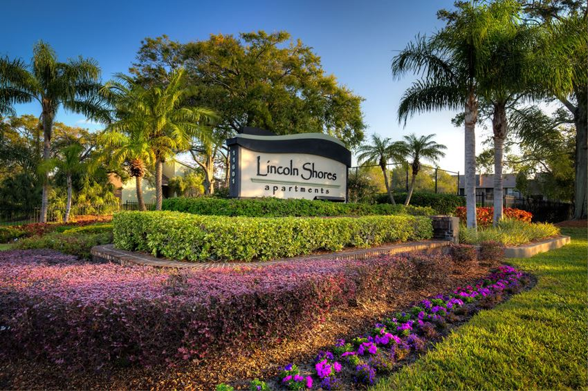 Picture of Lincoln Shores entry sign. There are palm trees shading bushes and purple flowers