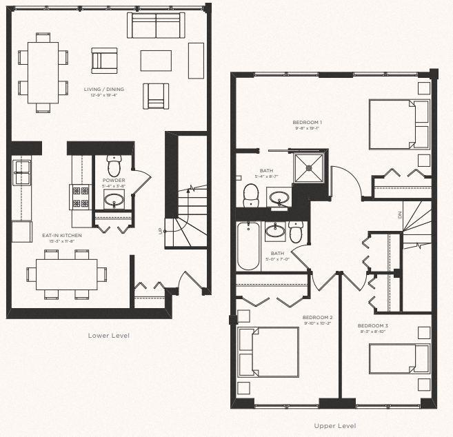 Three Bedroom Two and a Half Bath