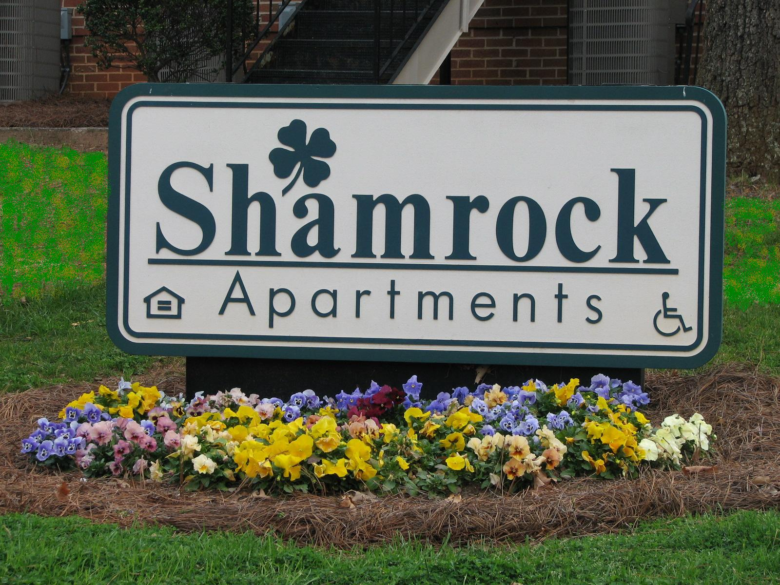 Sign at Shamrock Apartments in Raleigh