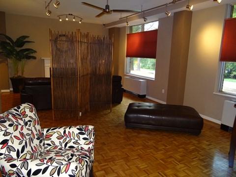 Large windows and original hardwood floors at Wedgwood Apartments in Raleigh, NC
