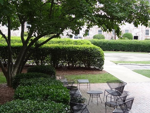 Outdoor seating area at Wedgwood Apartments in Raleigh, NC