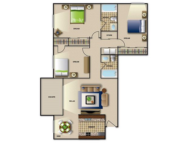 3 bedroom apartment in Raleigh NC